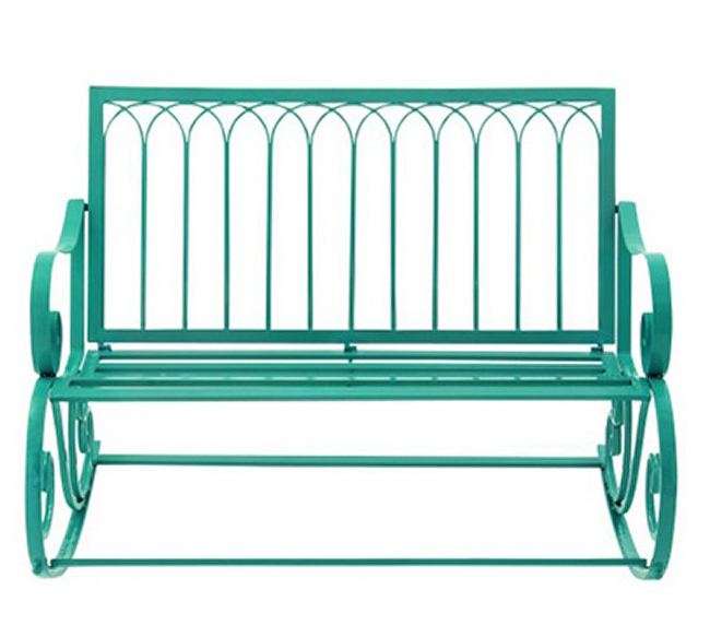 Turquoise All-Weather 49 in. Metal Rocking Bench