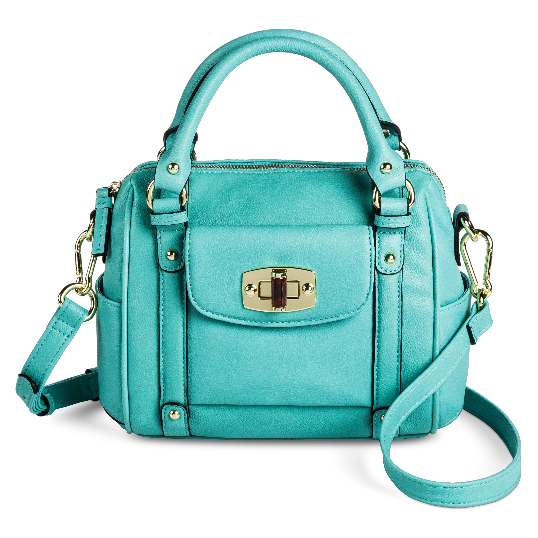 Turquoise Mini Satchel Handbag With Removable Crossbody Strap