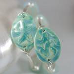Aqua Ceramic Mermaid or Starfish Bangle Bracelet