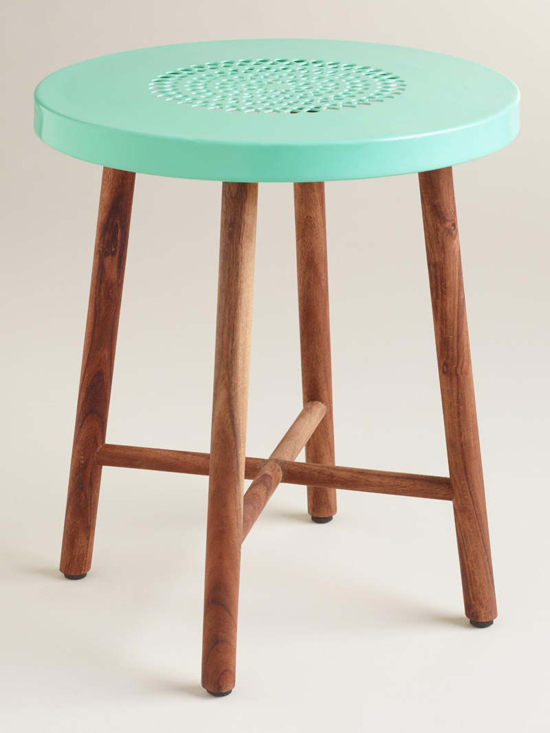 blue metal and wood tristan stool everything turquoise