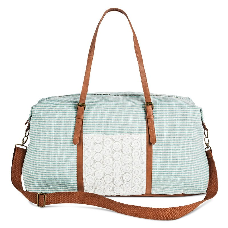 Crochet Stripe Weekender Handbag Blue