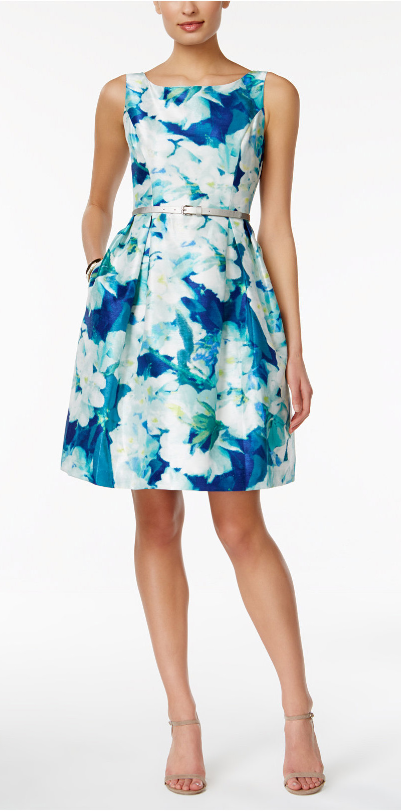 Sleeveless Belted Floral Print Fit Amp Flare Dress