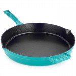 Martha Stewart Teal Enameled Cast Iron Fry Pan