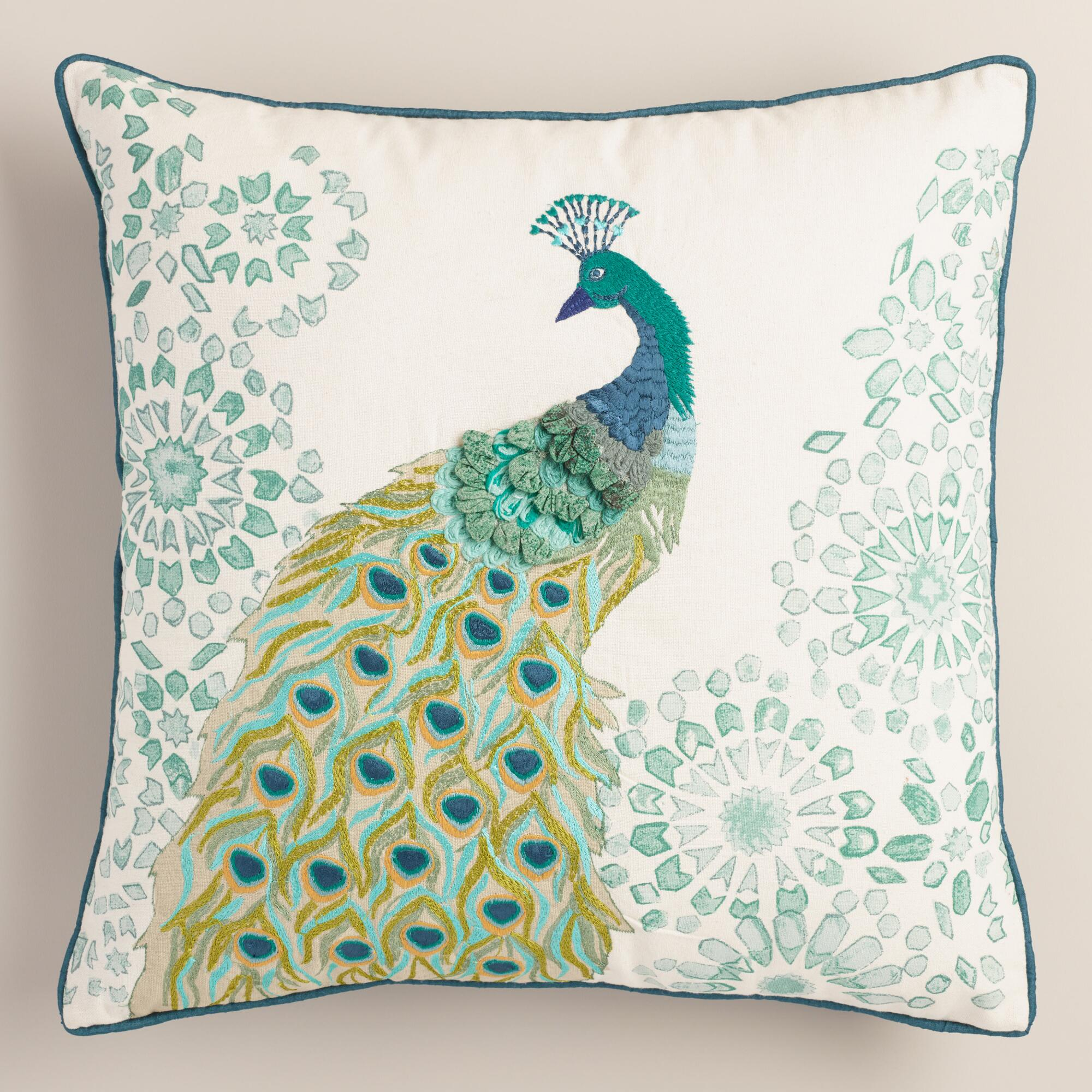 Popular Peacock Embroidered Throw Pillow | Everything Turquoise SP36