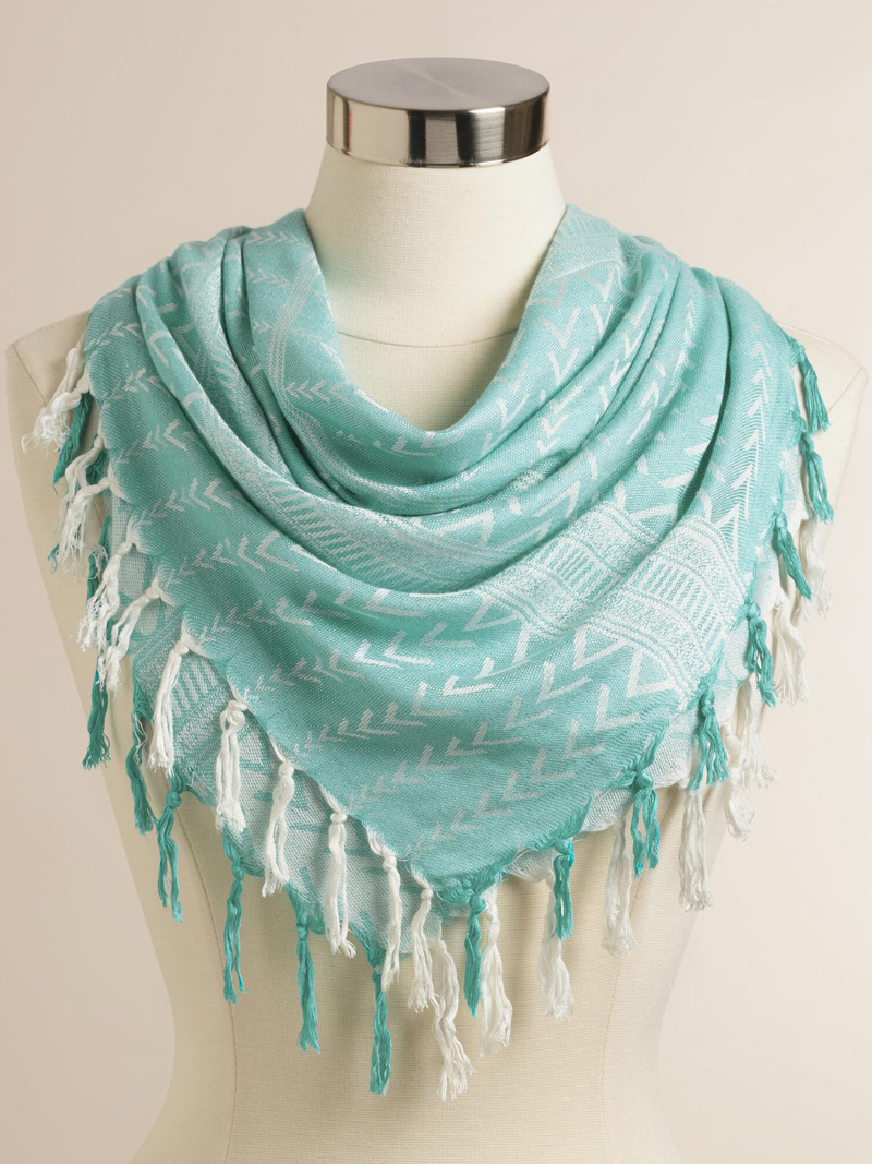 Square Turquoise Woven Scarf