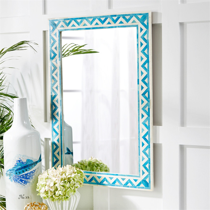 Aqua Capri Bone Inlay Mirror