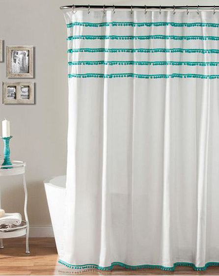 Ideal Aria Pom Pom Aqua Shower Curtain | Everything Turquoise XI13