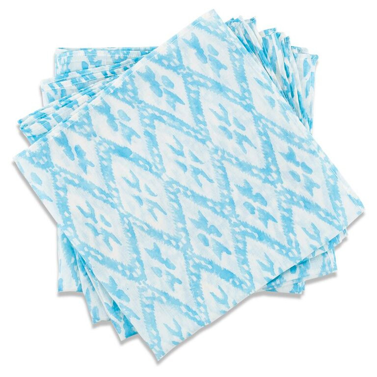 Bright Blue Ikat DInner Napkin