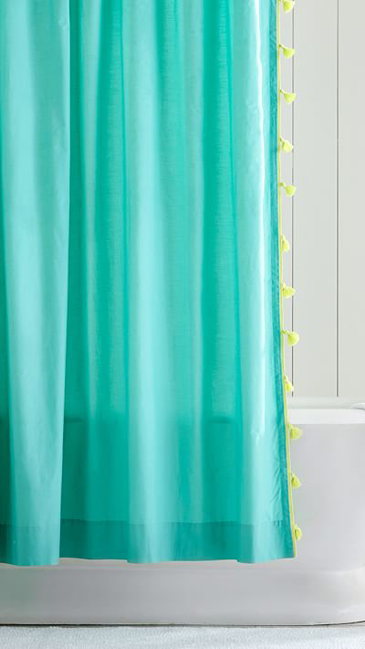 Color on Color Tassel Shower Curtain