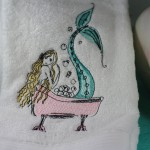 Mermaid Bubble Bath Embroidered Bathroom Hand Towel