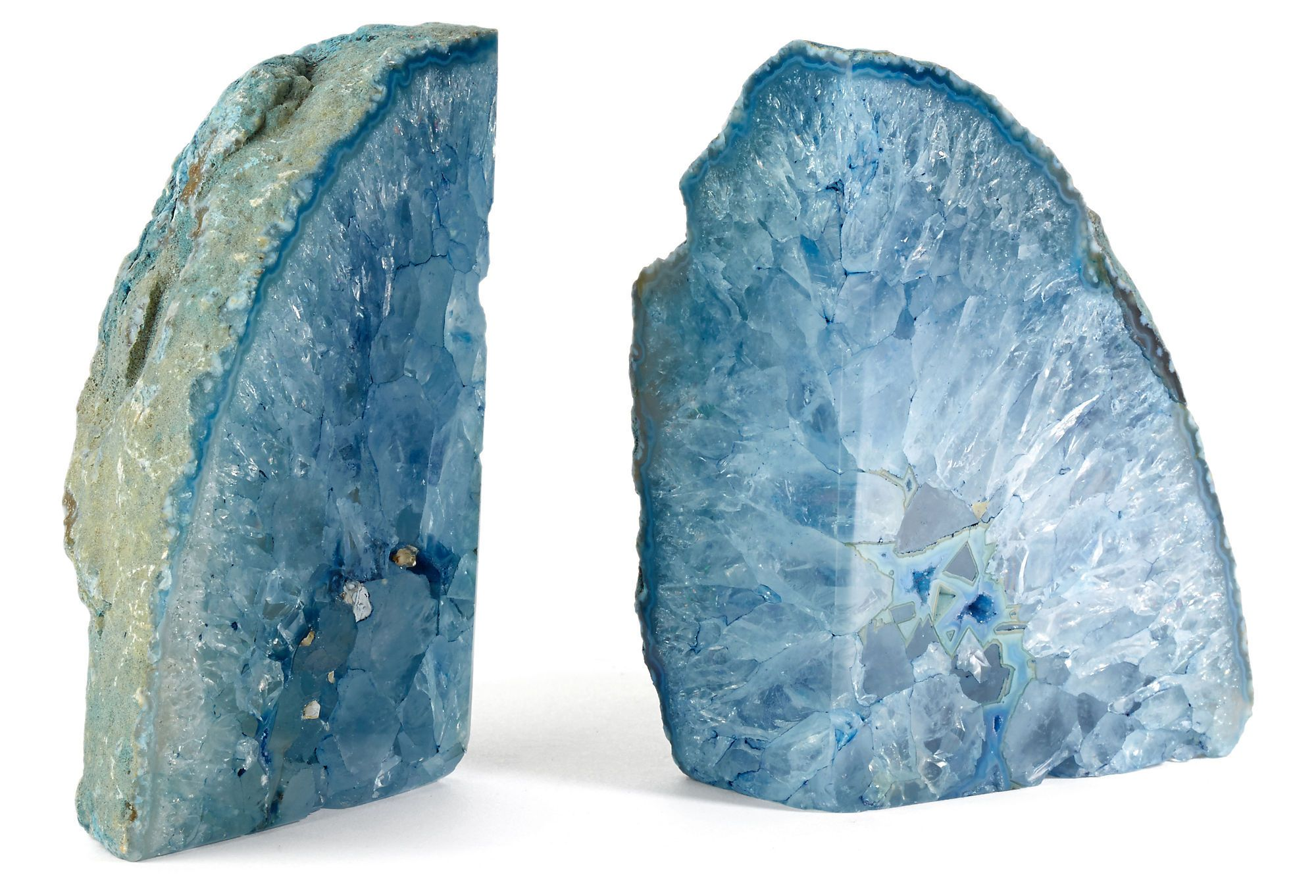 Pair of Blue Agate Bookends