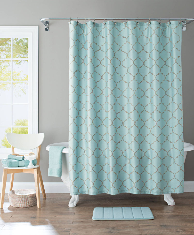 Scalloped Trellis Embroidered Fabric Shower Curtain