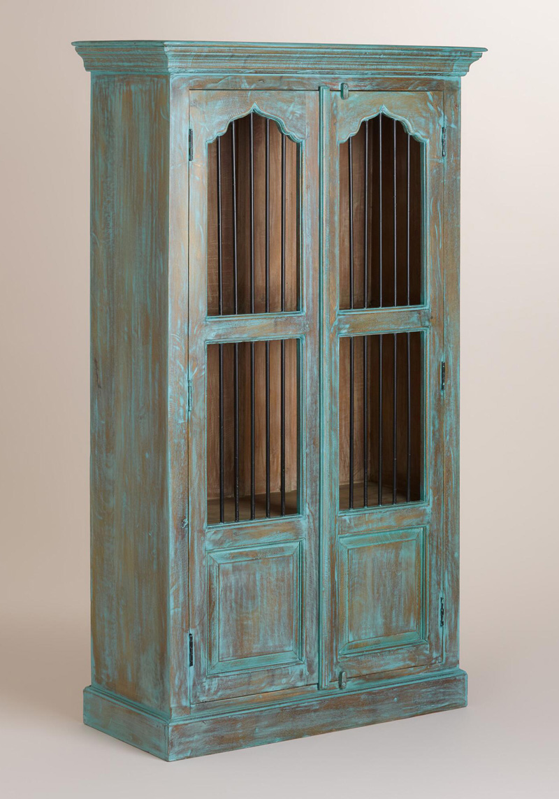 Teal Wood Cabinet with Metal Door