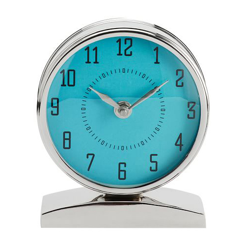 Aqua Chrome Clock on Stand