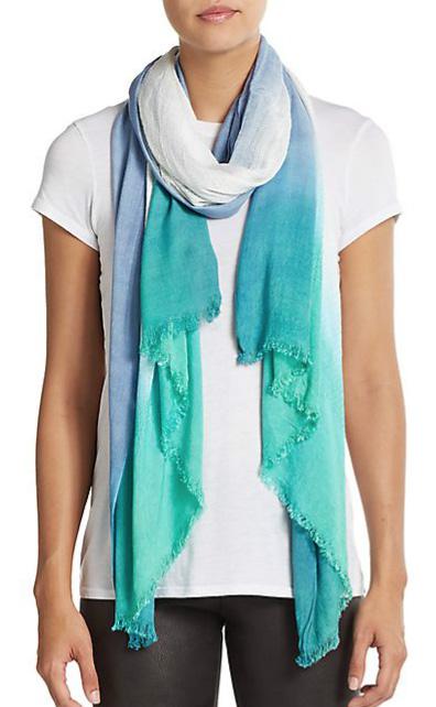 Bright Aqua Dip Dye Rectangular Scarf