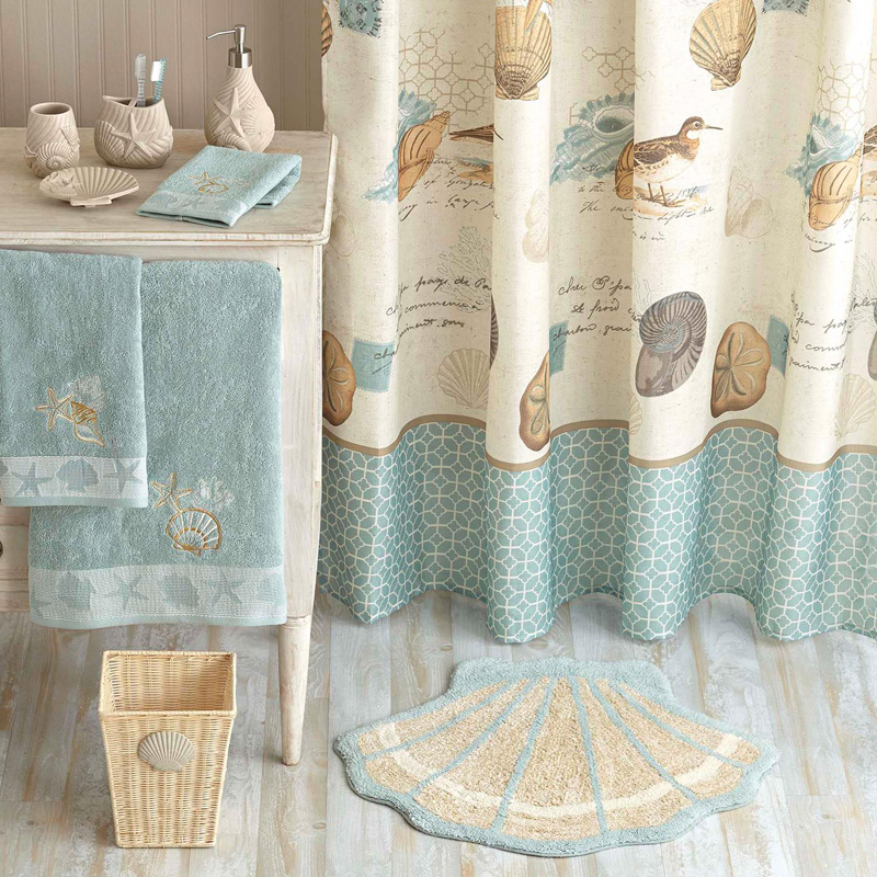 Coastal Collage Fabric Shower Curtain | Everything Turquoise