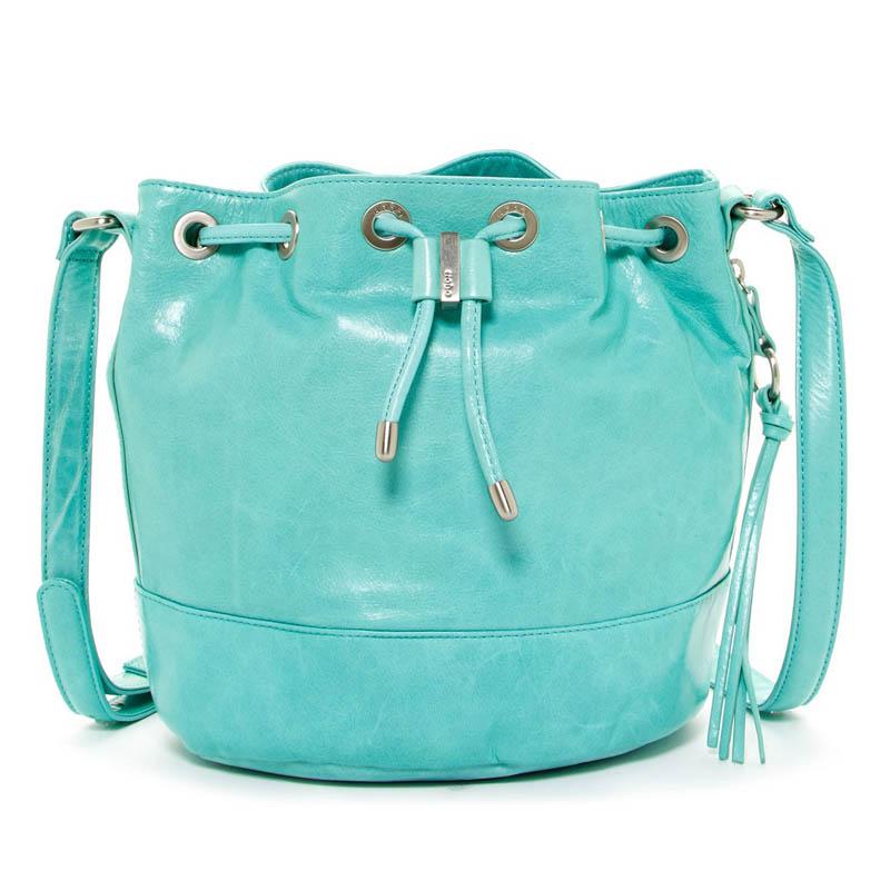 Hobo Aqua Tulia Leather Drawstring Bucket Bag
