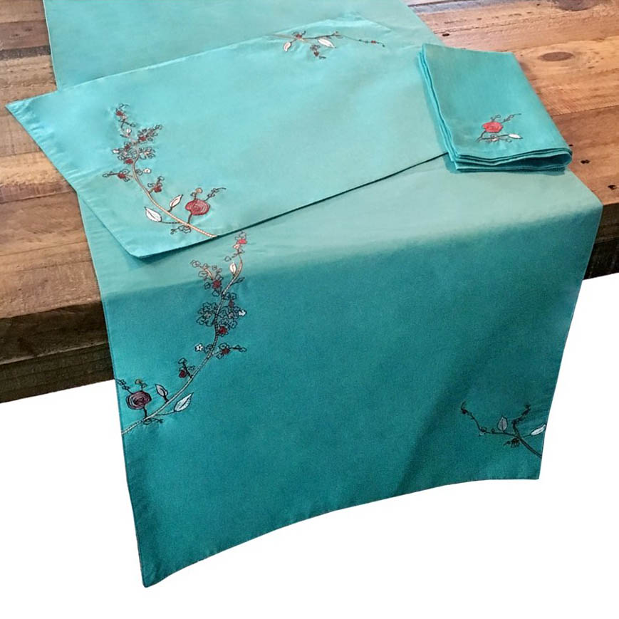 Lenox Chirp Aqua Embroidered Table Linens