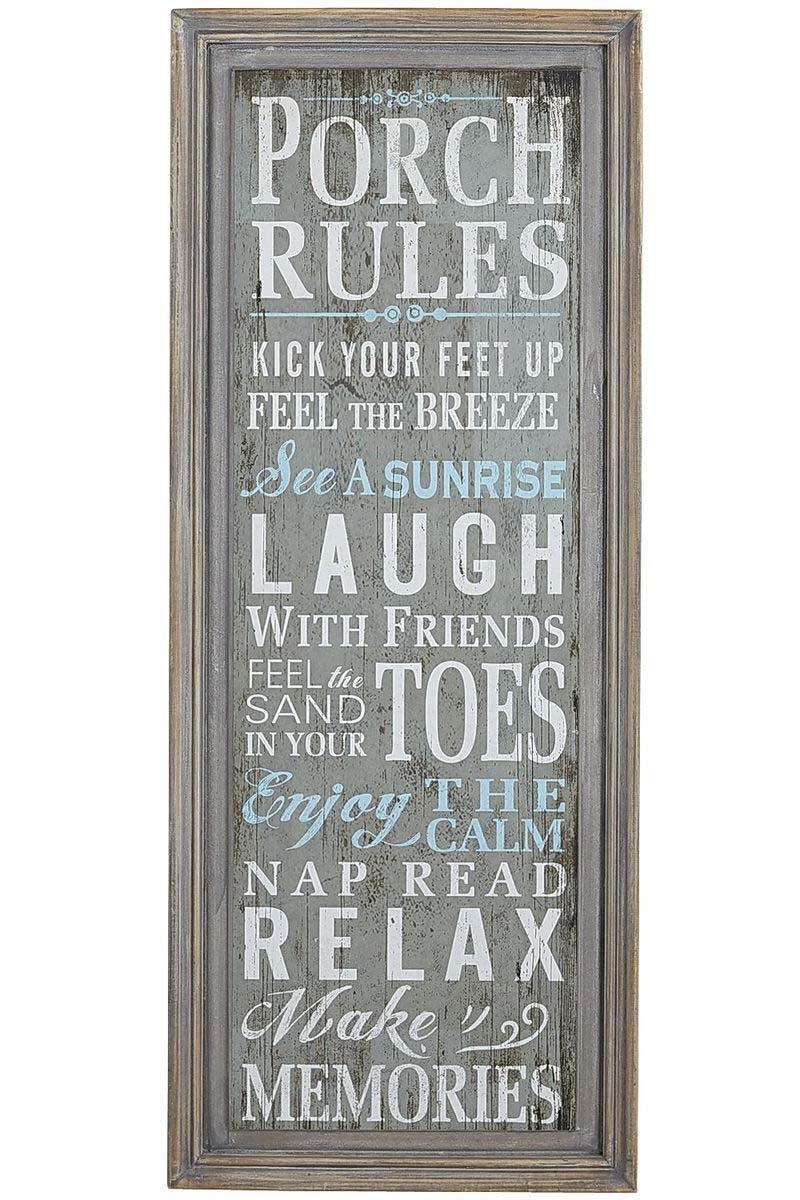 Porch Rules Wall Decor