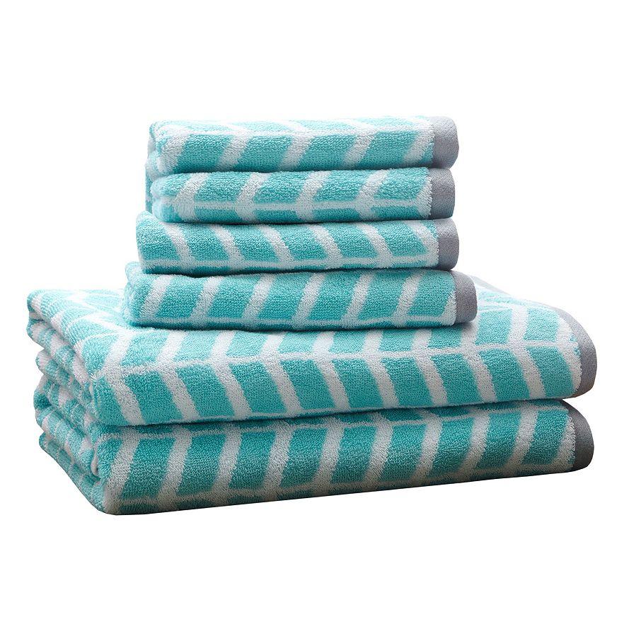 Teal 6-piece Chevron Jacquard Towel Set