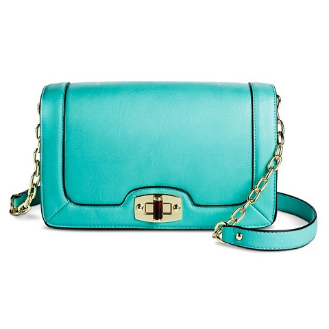 Crossbody Handbag with Turn Lock Closure and Chain Strap