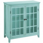 Antique Turquoise Hollins 2-Door Cabinet