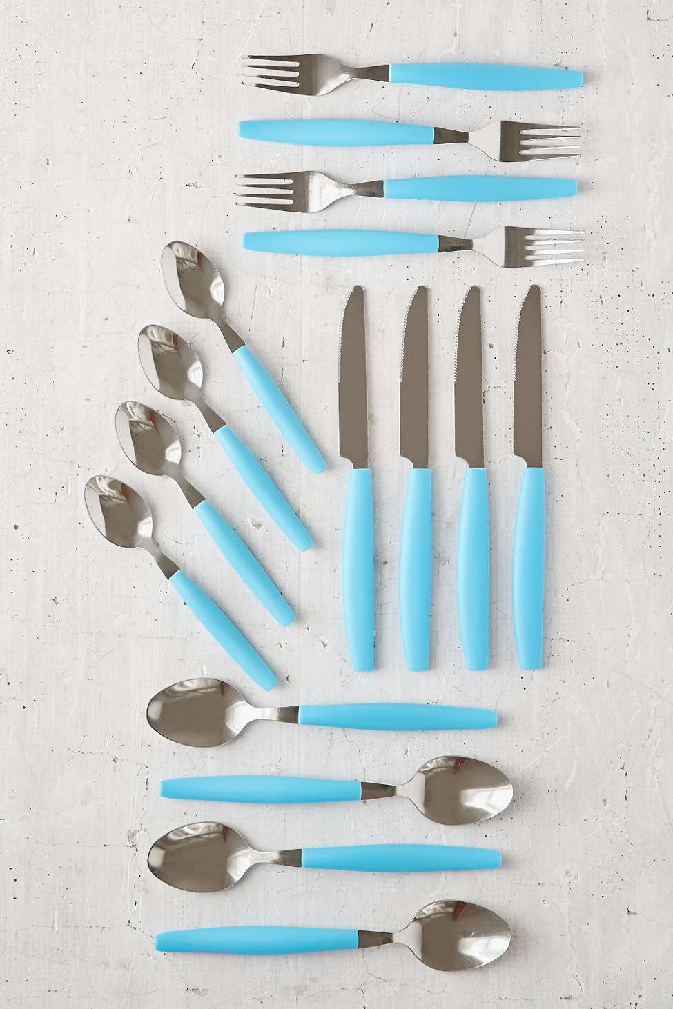 Blue 16-Piece Pop Flatware Set