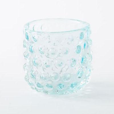 Ice Blue Tealight Hobnail Hurricane
