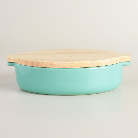 Large Aqua Ceramic Baker with Wood Trivet Lid