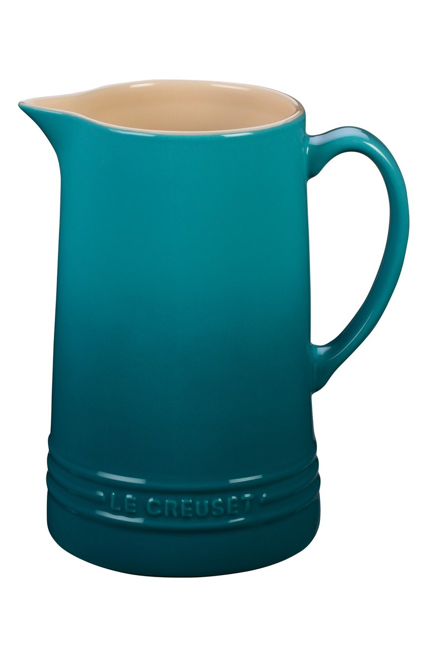 Le Creuset Glazed Stoneware Pitcher in Caribbean
