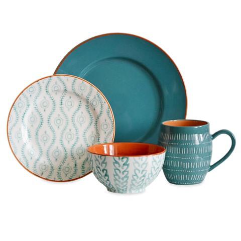 Tangiers Turquoise 16pc Dinnerware Set