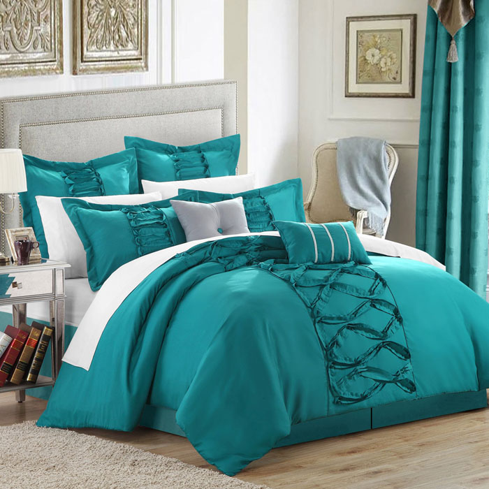 Perfect Turquoise Chic Home Ruth Ruffled Comforter Set