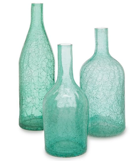Turquoise Crackled Glass Vase Everything Turquoise