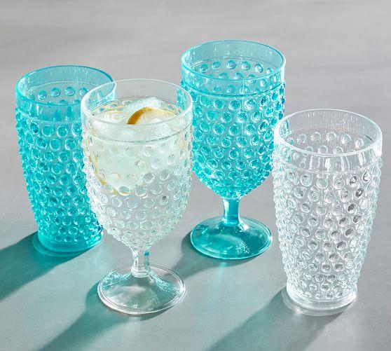Turquoise Hobnail Acrylic Drinkware
