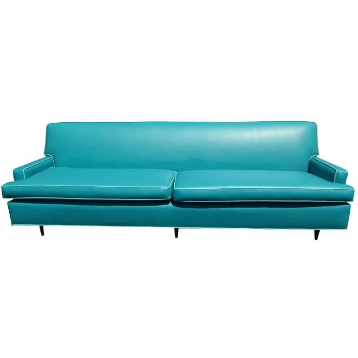 Vintage Mid Century Turquoise Vinyl Sofa Everything
