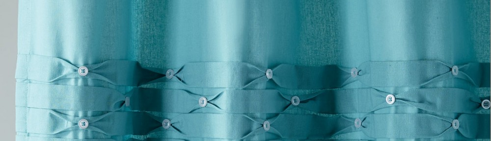 Turquoise Pintuck Shower Curtain