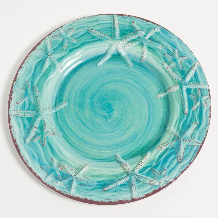 """Turquoise Raised Starfish 9"""" Melamine Salad:Dessert Plate"""