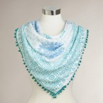 White and Blue Prayer Shawl with Pompoms