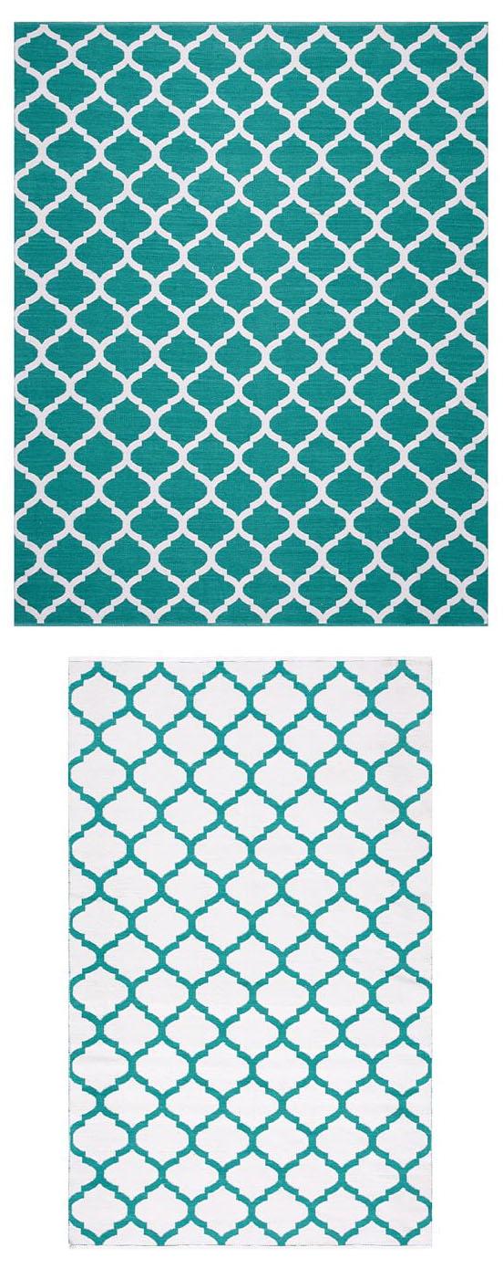 Becca Teal Tile Reversible Indoor Outdoor Rug