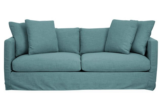 Blue Crypton Dolly Slipcover Sofa