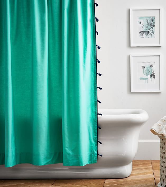 Color On Color Tassel Shower Curtain