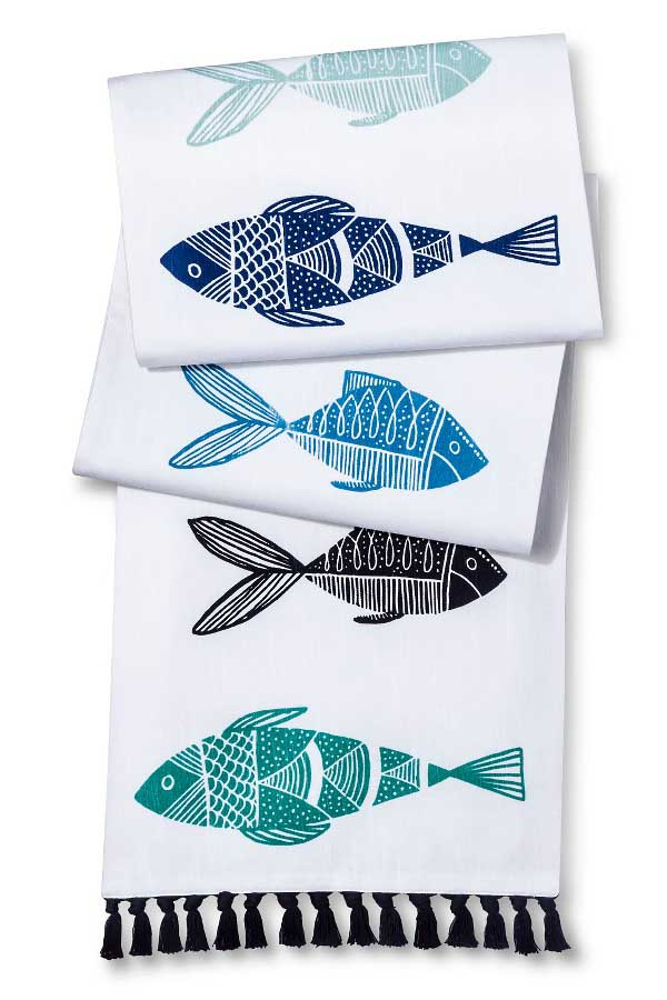 Fish Table Runner with Tassels