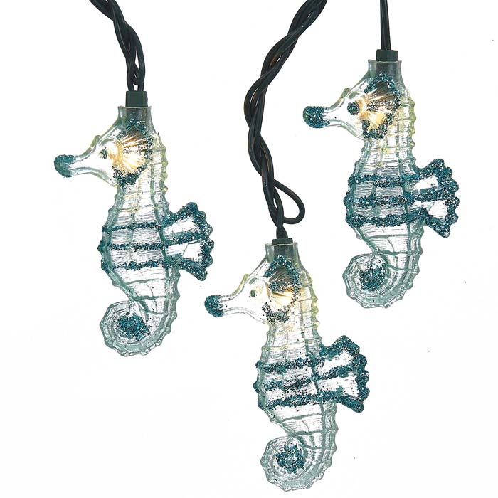 Glittered Blue Seahorse String Lights