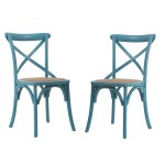 Light Blue Elm Wood Rattan Vintage-style Dining Chairs (Set of 2)