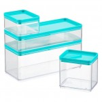 Stackable Rectangle Clear Containers with Teal Lids
