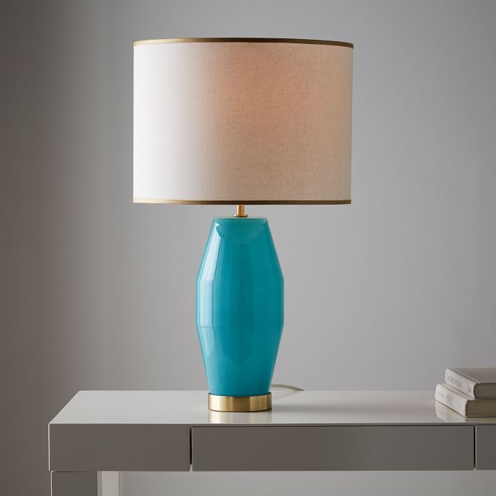 Aqua Faceted Glass Table Lamp
