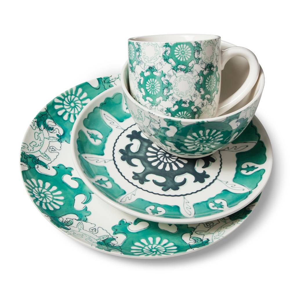 Aqua Medallion 16 Piece Dinnerware Set