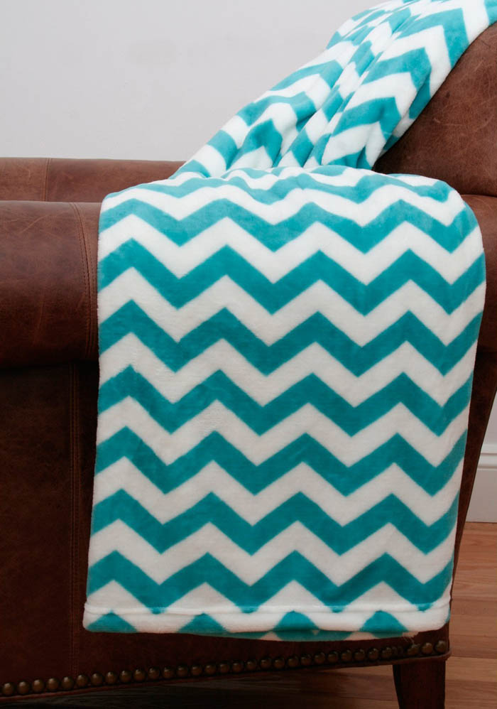 Baltic Blue Chevron Fleece Throw