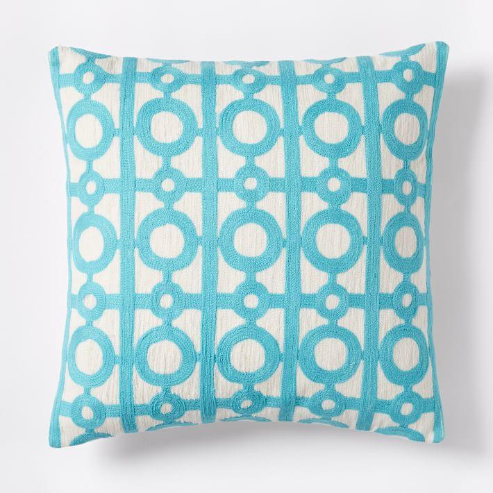 Bright Turquoise Crewel Circle Lattice Pillow Cover