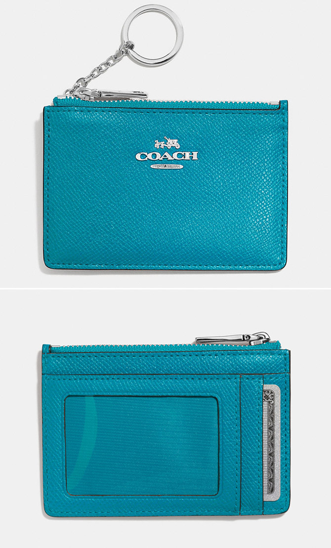 COACH Turquoise Mini Skinny In Embossed Textured Leather